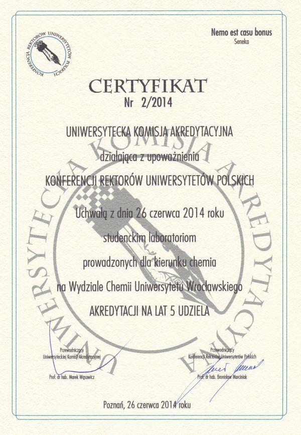 Certyfikat UKA dla laboratoriów studenckich