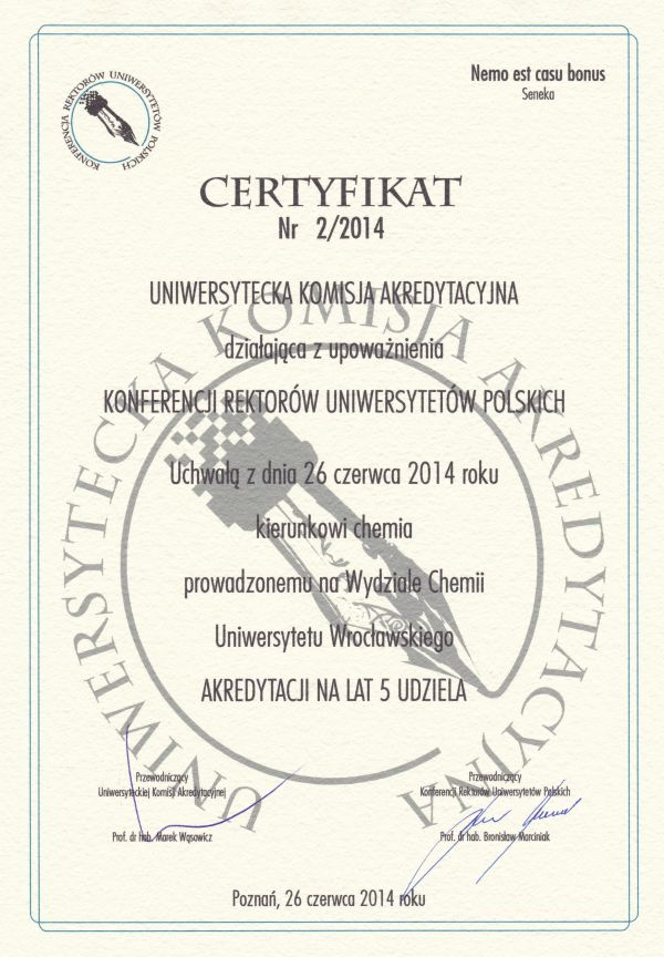 Certyfikat UKA dla kierunku chemia